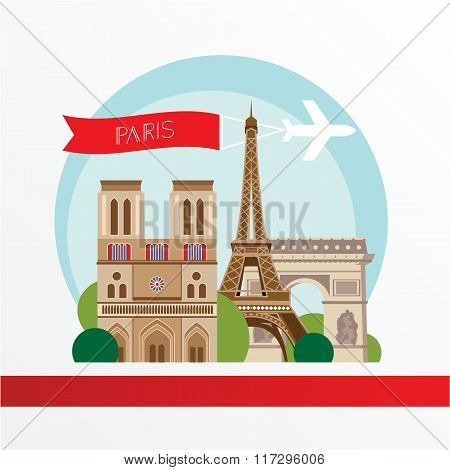 Flat stylish vector illustration for Paris, France. Travel and tourism concept