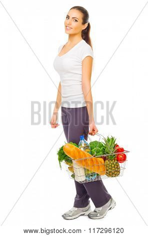 Young girl with food basket isolated