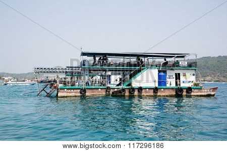 PHI PHI ISLANDS, THAILAND - CIRCA FEBRUARY, 2015: Floating station for divers at the Phi Phi Doh Island. Phi Phi Islands are popular among tourists from all over the world.