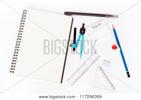 To do list and blank notebook with geometry stationery