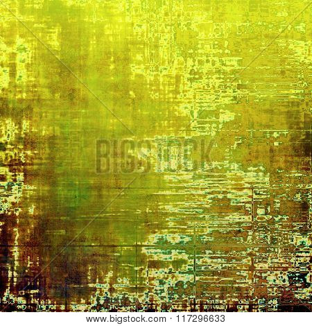 Old school textured background. With different color patterns: yellow (beige); brown; white; cyan; green