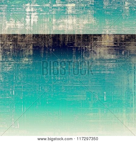 Art vintage background with space for text and different color patterns: yellow (beige); white; blue; cyan; black