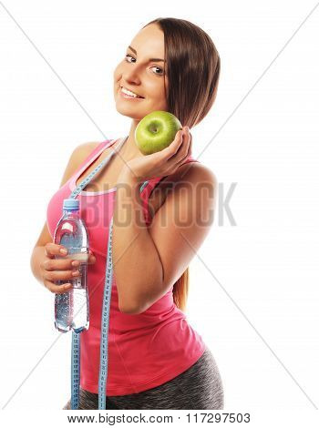 Healthy woman with water and apple diet smiling