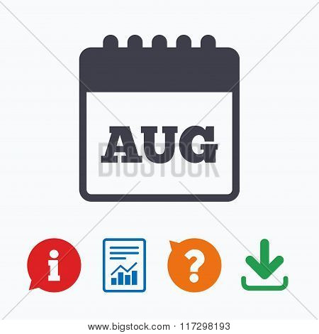 Calendar sign icon. August month symbol.