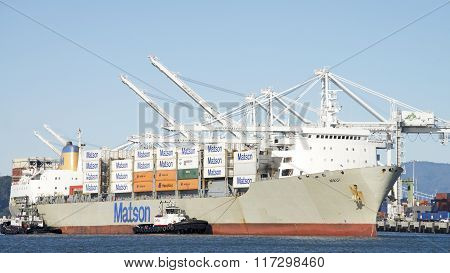 Matson Cargo Ship Maui Entering The Port Of Oakland