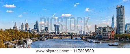 Panoramic View From Waterloo Bridge To River Thames