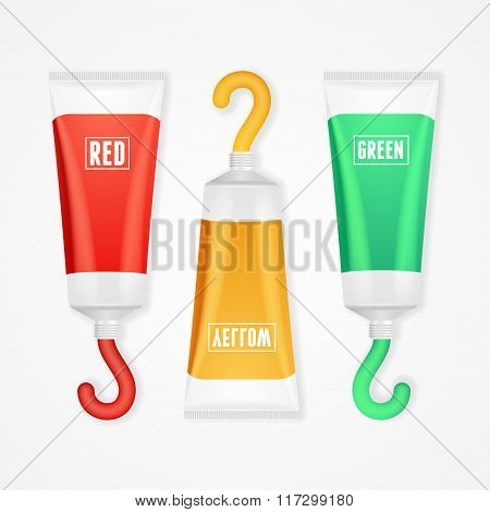 Colorful Paint Tubes Set. Vector