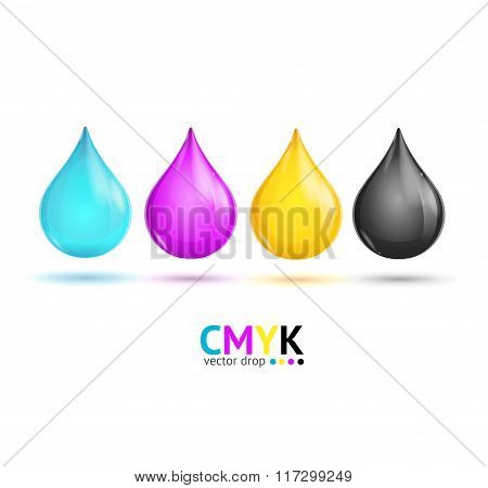 CMYK Glossy Paint Drops. Vector