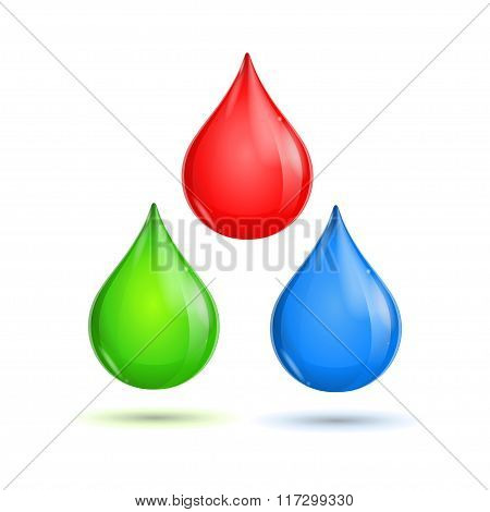 RGB Glossy Paint Drops. Vector