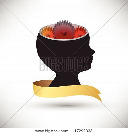 Background Human Head With Gears And Cogs Working Together Idea Concept