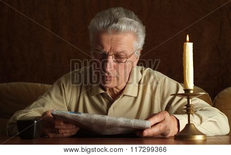 Mature man reading