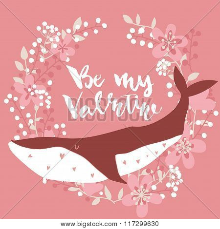 Lovely whale on stylish colored background with floral wreath