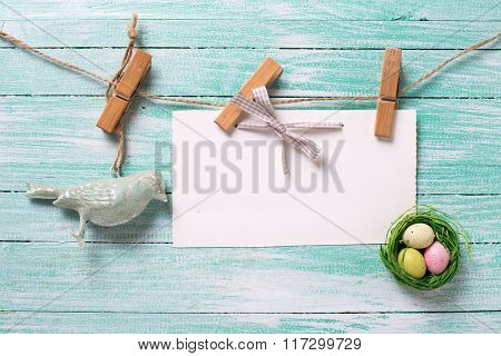 Decorative Easter Eggs, Bird  And Empty Tag On Wooden Background.