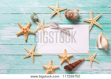Empty Tag And Marine Items On Wooden Background.