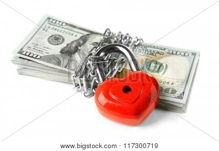 Dollars currency with lock and chain, isolated on white