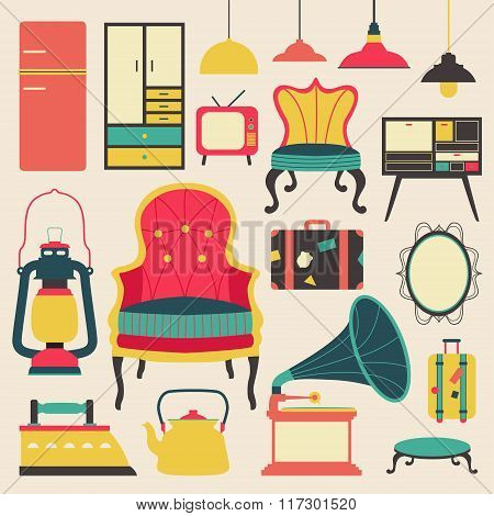 Old Retro Media Communication Technology And House Appliance Furniture And Kitchen Tool  Flat Icon D