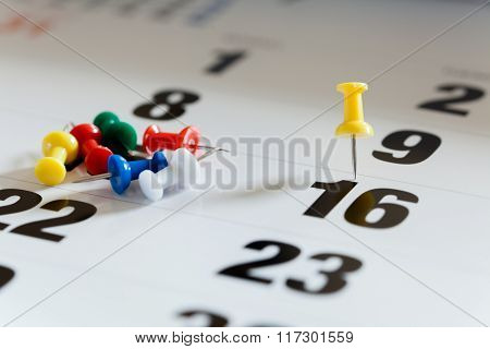 Pushpins On Calendar, Busy And Overworking Days. Important Date Or Meeting Appointment Reminder Conc