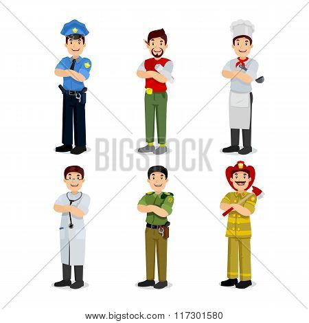 Set of colorful profession man flat style icons policeman, artist, cooker, military, doctor, firefig