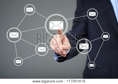Business button online messaging mail icon sending