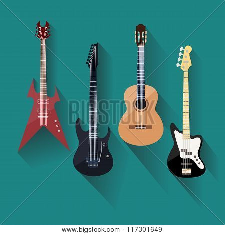 Acoustic and electric guitars set in flat style