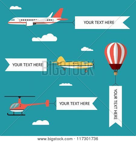 Aeroplane, planes, helicopters, biplane and hot air balloon. Set of colorful flat air transports wit