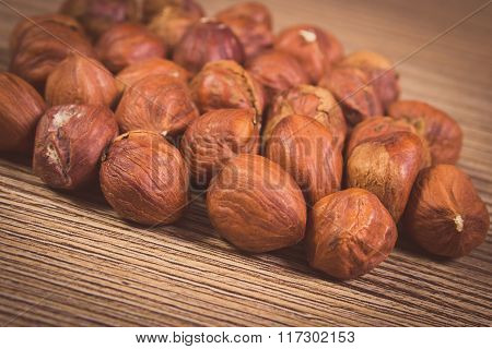 Vintage Photo, Heap Of Brown Hazelnut On Wooden Table