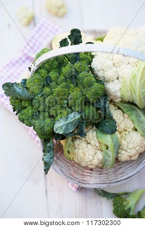 various vegetables on old table