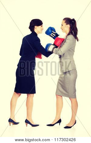 Two business women with boxing gloves fighting.