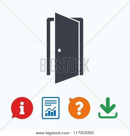 Door sign icon. Enter or exit symbol.