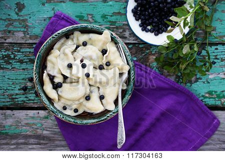 Dumplings with blueberries, Ukrainian dish