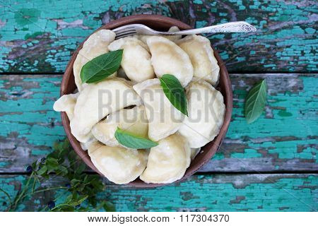 Dumplings with cottage cheese, top view