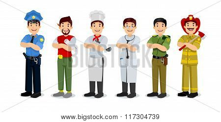 Set of colorful profession man flat style icons: policeman, artist, cooker, military, doctor, firefi