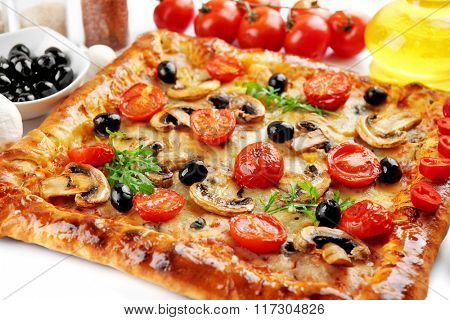 Freshly homemade pizza on white background