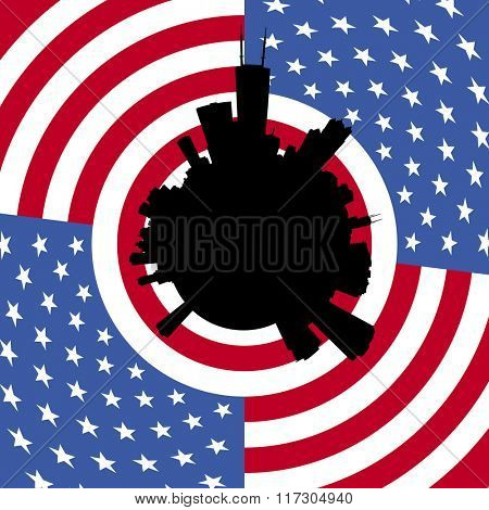 Chicago circular skyline with American flag illustration