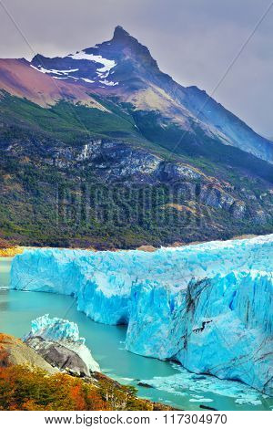 Los Glaciares National Park in Argentina. Colossal Perito Moreno glacier in Lake Argentino. Sunny summer day in February