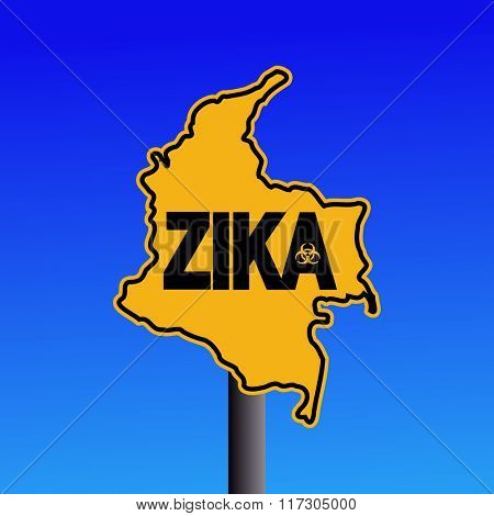 Zika virus warning Colombia map sign on blue illustration