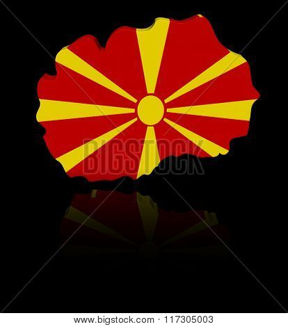 Macedonia map flag with reflection illustration