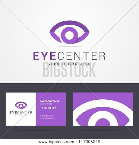 Logo and business card template with eye sign.