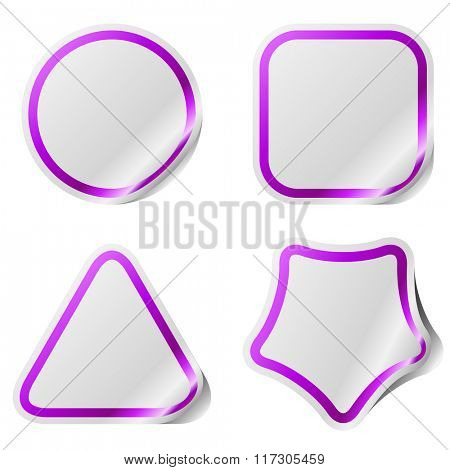 Blank stickers with violet frame isolated on white background.