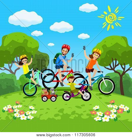 Family with kids concept of cycling in the park. Happy family riding bikes. The family in the park o