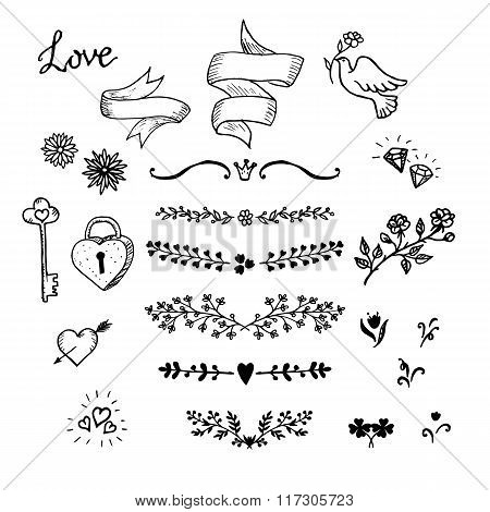 Wedding hand made graphic set flowers, ribbons and decorative elements. Vector design elements decor