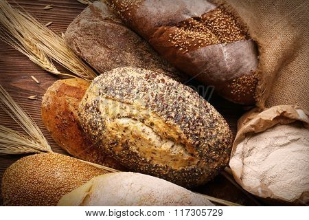 Background of fresh baked bread, close-up