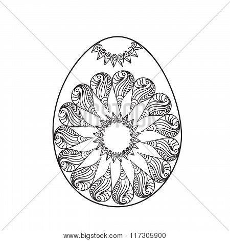 Easter egg coloring page with sun symbol