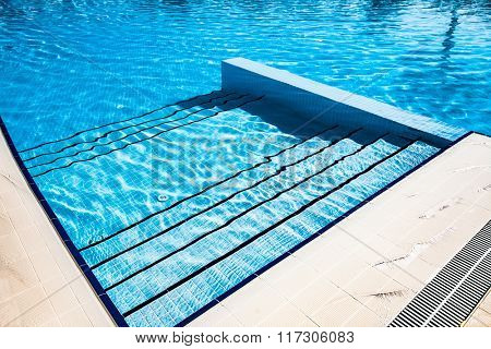Stairs clear blue swimming pool background