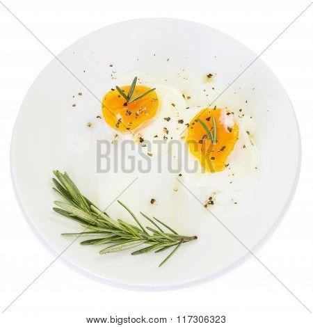 Breakfast  Boiled Egg Yolk On White Plate