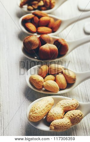 Walnut kernels, almonds, hazelnuts, pistachios and peanuts in the ceramic spoons on the wooden table, close-up