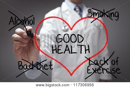 Doctor giving good health advice on diet, smoking, alcohol and exercise