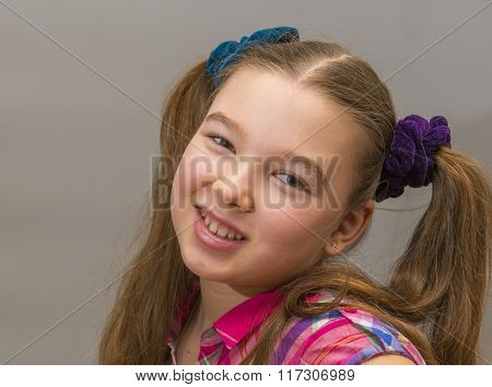 Closeup portrait intelligent, excited, looking happy, little girl having idea, arms crossed isolated grey black background. Positive human emotions facial expression, attitude, perception reaction