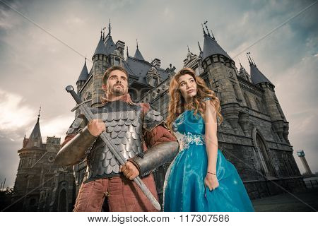 Beautiful Princess With Her Brave Knight.