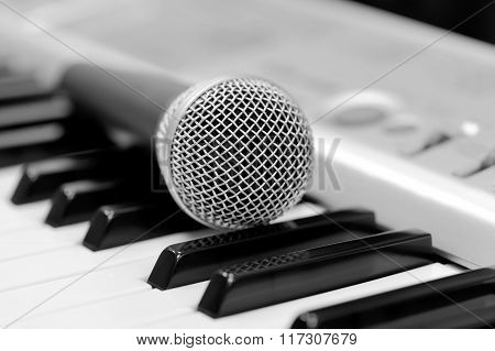 Classical Microphone On Keyboard